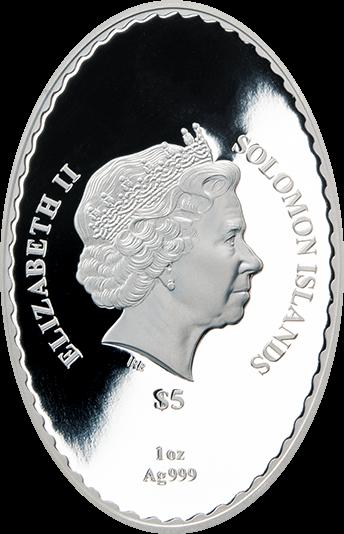 Соломоновы острова монета 5 долларов Внучка Деда Мороза, Снегурочка, аверс