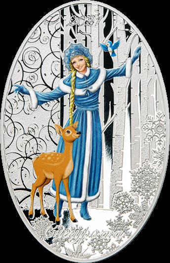 Соломоновы острова монета 5 долларов Внучка Деда Мороза, Снегурочка, реверс