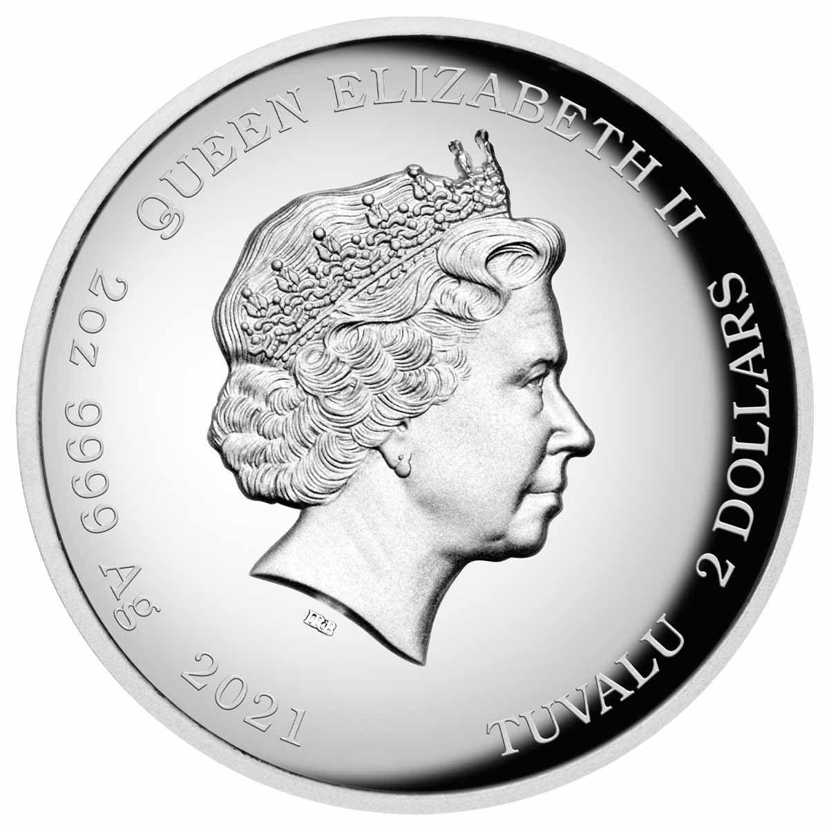 Тувалу монета 2 доллара 2021 год, аверс