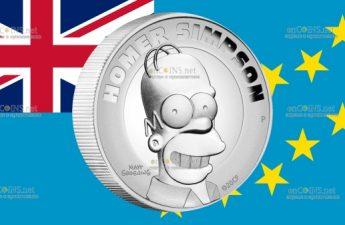 Тувалу монета 2 доллара Гомер Симпсон