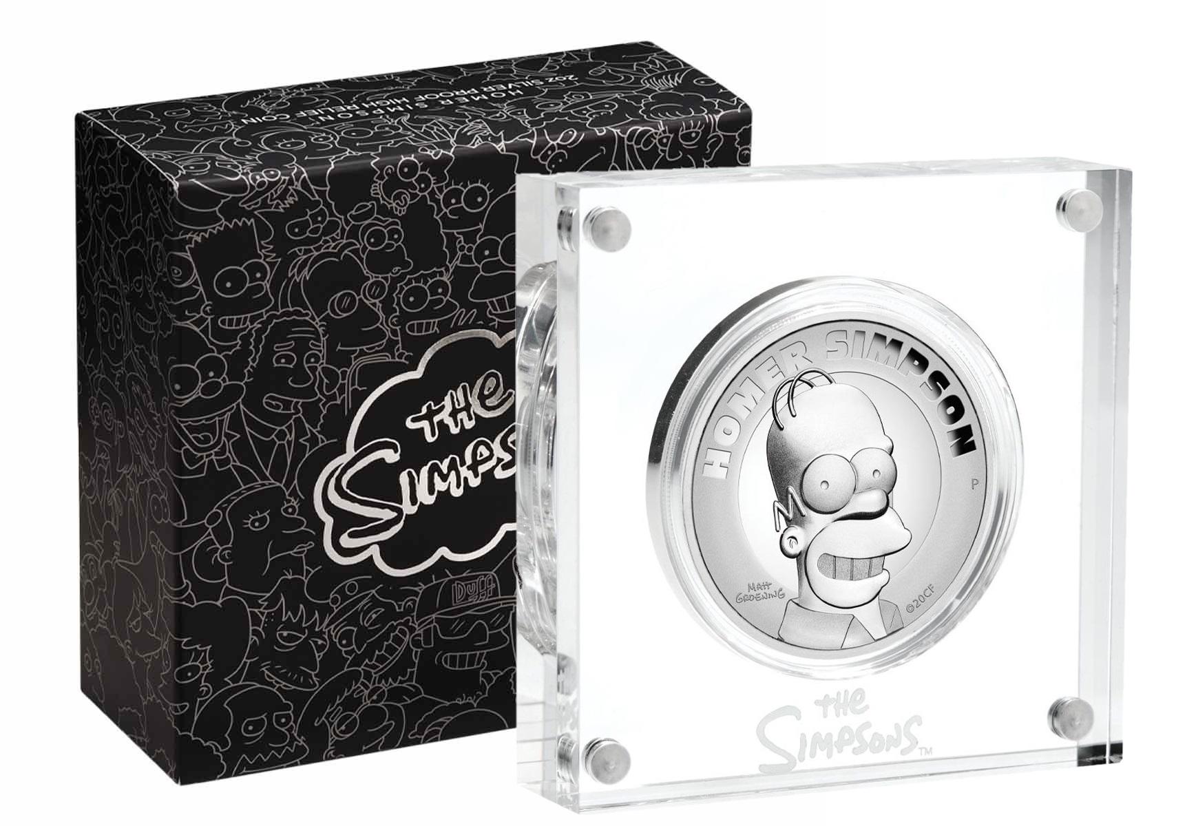 Тувалу монета 2 доллара Гомер Симпсон, подарочная упаковка
