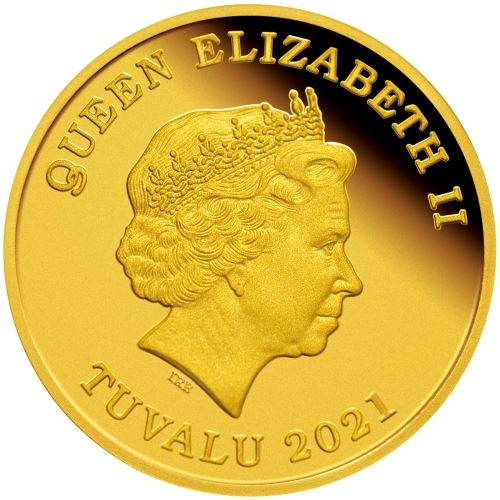 Тувалу монета 30 долларов 2021 года, аверс