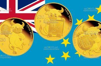 Тувалу монета 30 долларов Год Быка