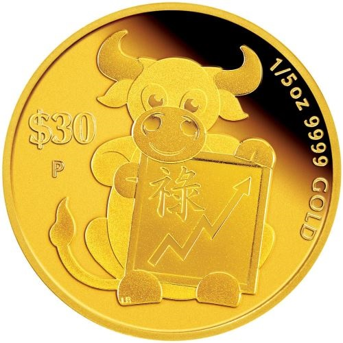 Тувалу монета 30 долларов Год Быка - Долголетие, реверс