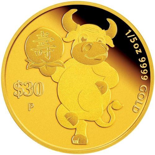 Тувалу монета 30 долларов Год Быка - Успех, реверс