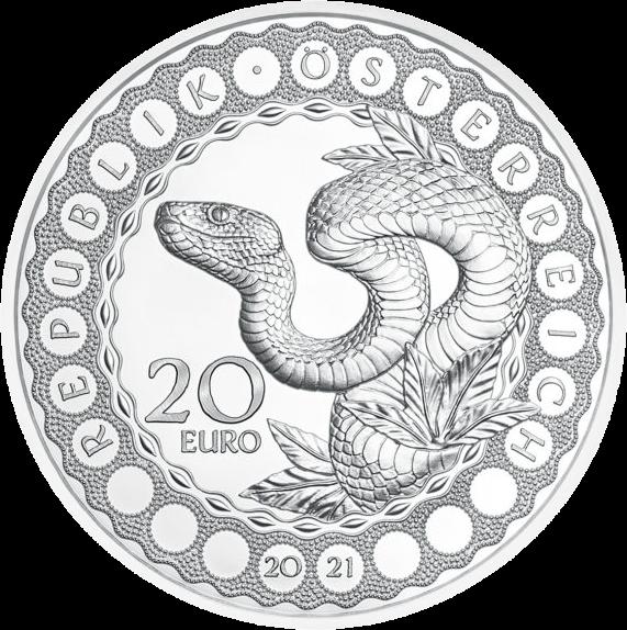 Австрия монета 20 евро Радужная змея, аверс