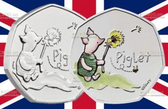 Британия медно-никелевая монета 50 пенсов Пятачок