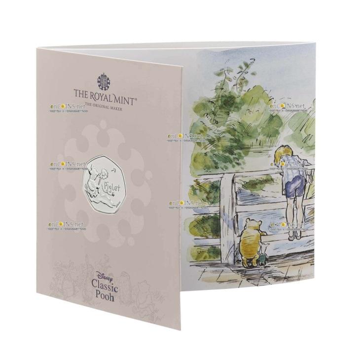 Британия медно-никелевая монета 50 пенсов Пятачок, + цвет, подарочная упаковка