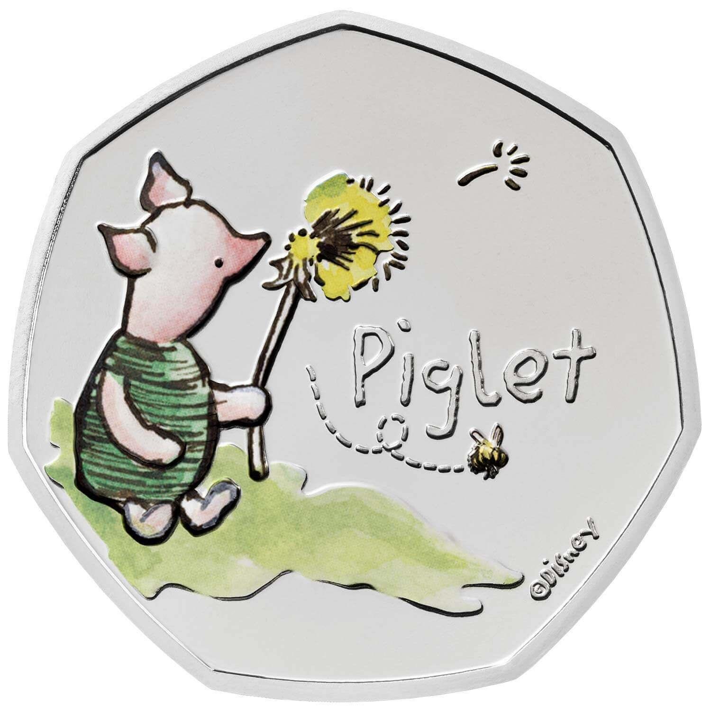 Британия медно-никелевая монета 50 пенсов Пятачок, + цвет, реверс