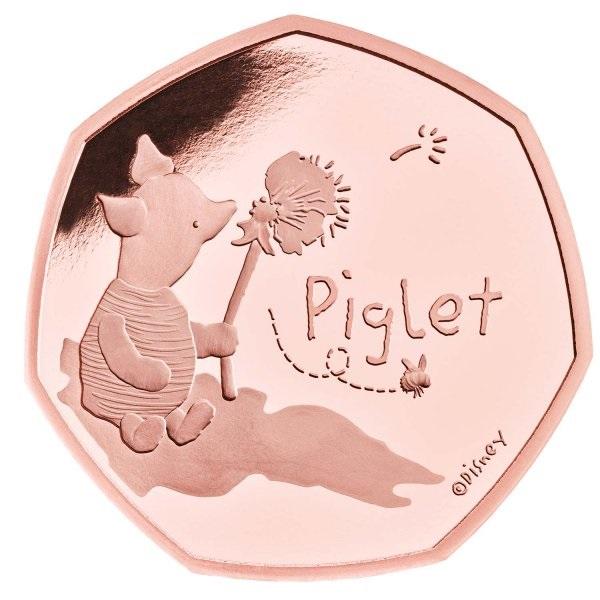 Британия золотая монета 50 пенсов Пятачок, реверс