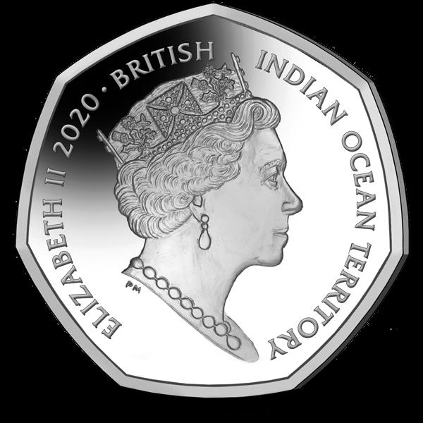 Британские территории в Индийском океане монета 50 пенсов, аверс, 2020 год