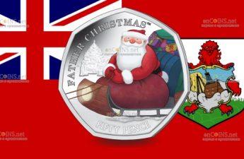 Британские территории в Индийском океане монета 50 пенсов Дед Мороз
