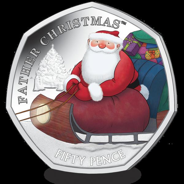 Британские территории в Индийском океане монета 50 пенсов Дед Мороз, реверс