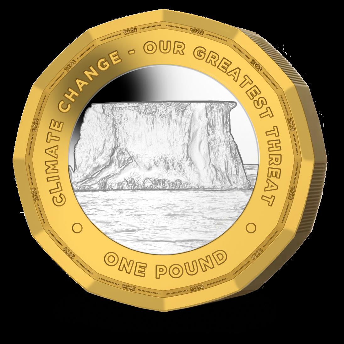 Британские заморские территории монета 1 фунт Климатические изменения, реверс