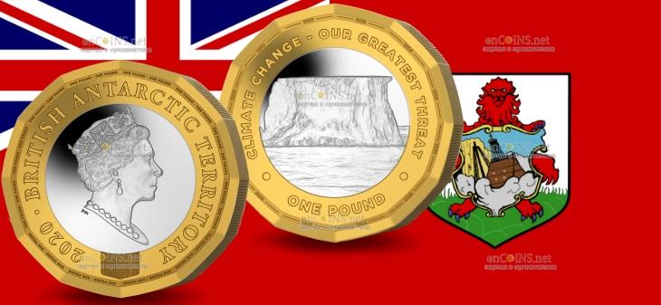 Британские заморские территории монета 1 фунт Климатические изменения