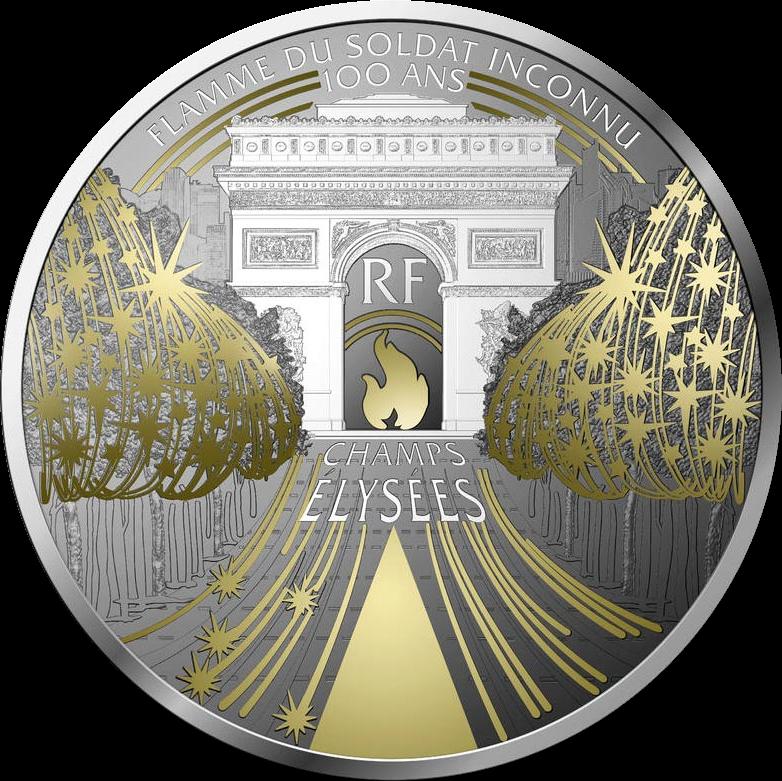Франция монета 10 евро Елисейские поля, реверс