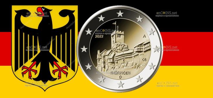 Германия монета 2 евро Замок Вартбург Замок Вартбург в Айзенахе