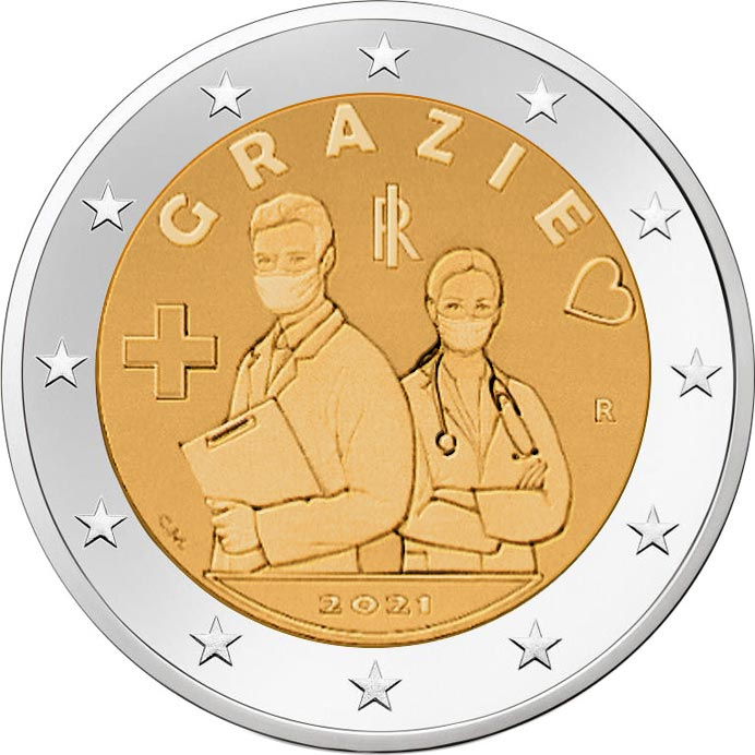 Италии монета 2 евро СПАСИБО, реверс