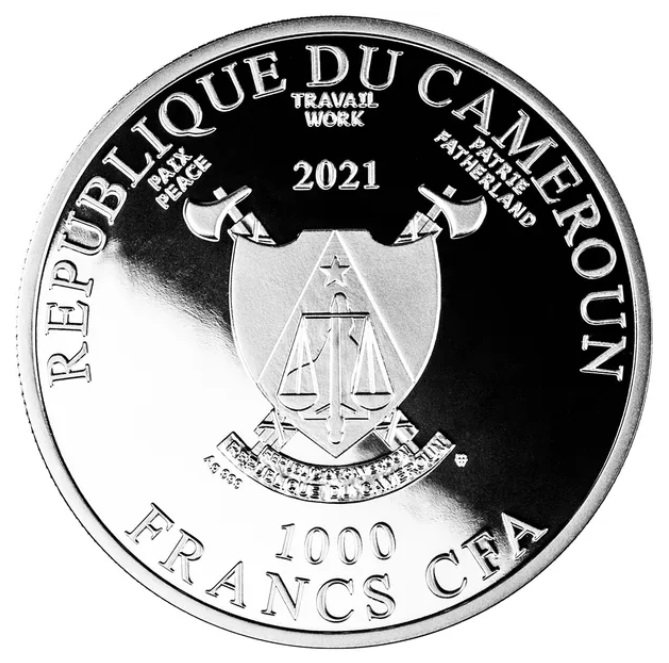 Камерун монета 100 франков КФА год Быка, аверс