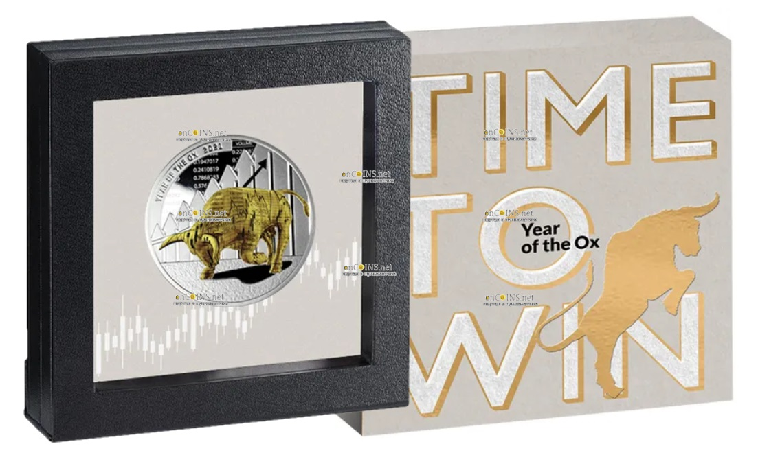 Камерун монета 1000 франков КФА год Быка, подарочная упаковка