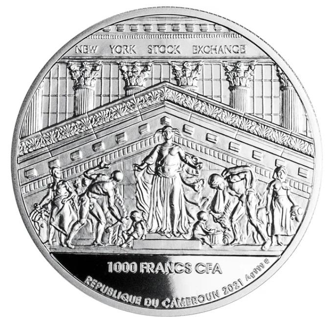 Камерун монета 1000 франков Нью-Йоркская фондовая биржа, подарочная упаковка, аверс