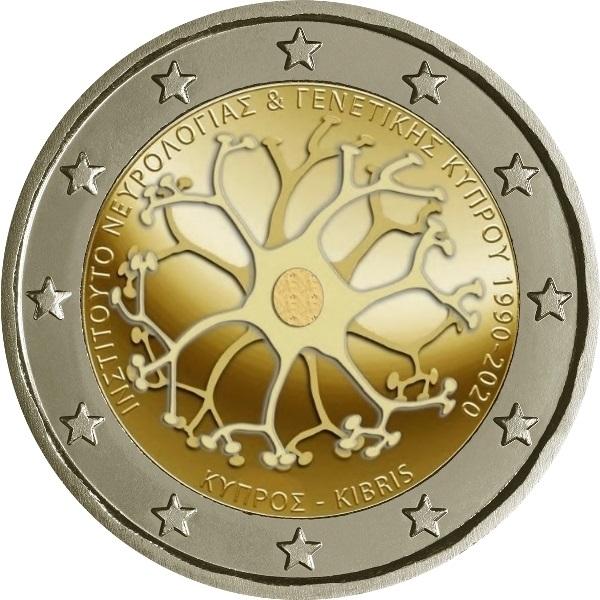 Кипр монета 2 евро Кипрский институт неврологии и генетики, реверс