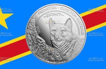 Конго монета 20 франков КФА Фолклендская лисица