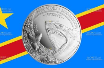 Конго монета 20 франков КФА Мегалодон