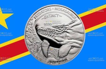 Конго монета 20 франков КФА Мозазавр