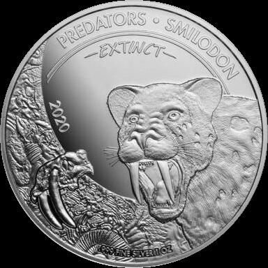 Конго монета 20 франков КФА Смилодон, реверс