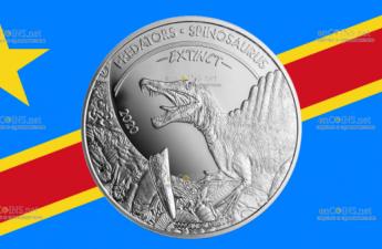 Конго монета 20 франков КФА Спинозавр