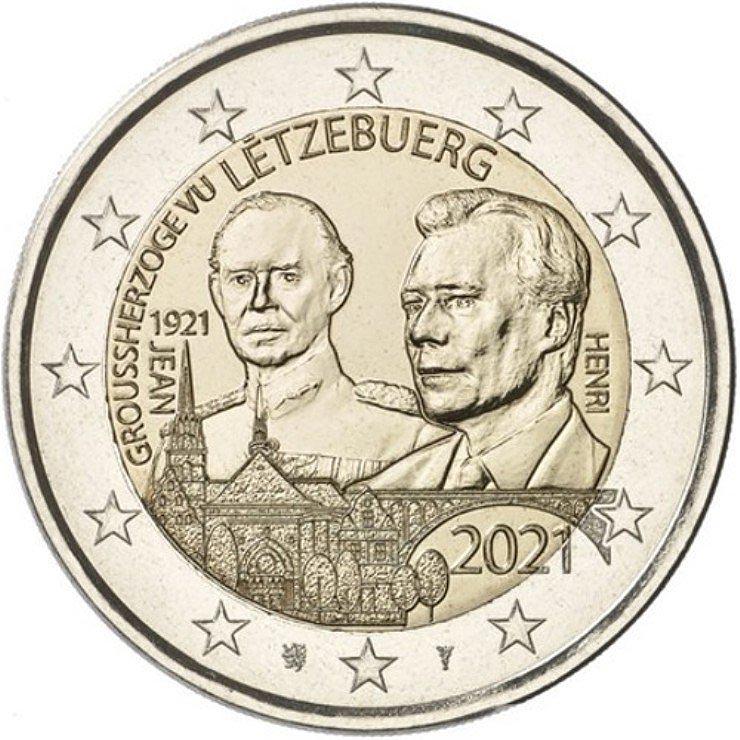 Люксембург монета 2 евро Великий герцог Люксембурга Жан, реверс
