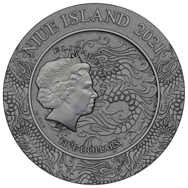 Ниуэ монета 5 долларов Два Цяо, аверс