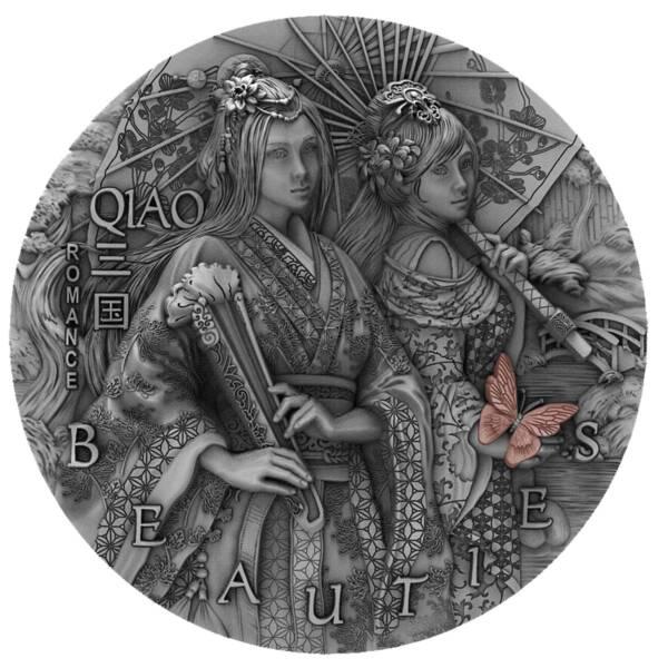 Ниуэ монета 5 долларов Два Цяо, реверс