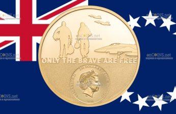 Острова Кука золотая монета 250 долларов Пилот-истребитель