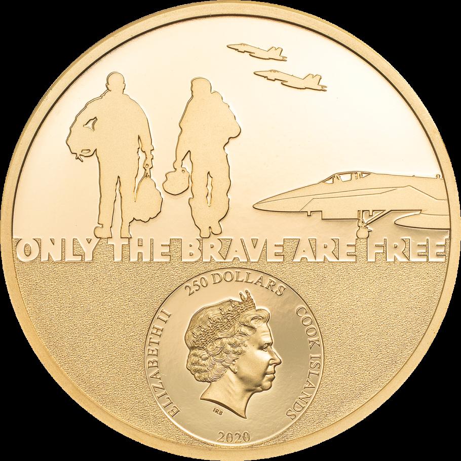 Острова Кука золотая монета 250 долларов Пилот-истребитель, аверс