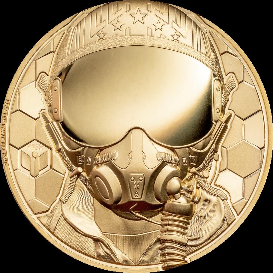 Острова Кука золотая монета 250 долларов Пилот-истребитель, реверс