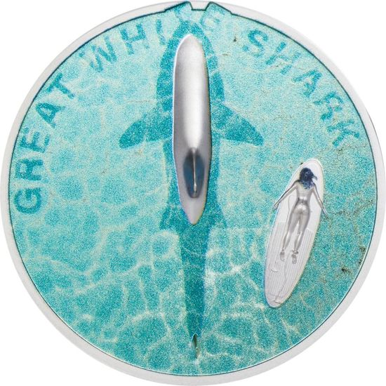 Палау монета 5 долларов Большая белая акула, аверс