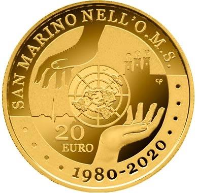 Сан-Марино монета 20 евро 40-летие присоединения Сан-Марино к ВОЗ, реверс