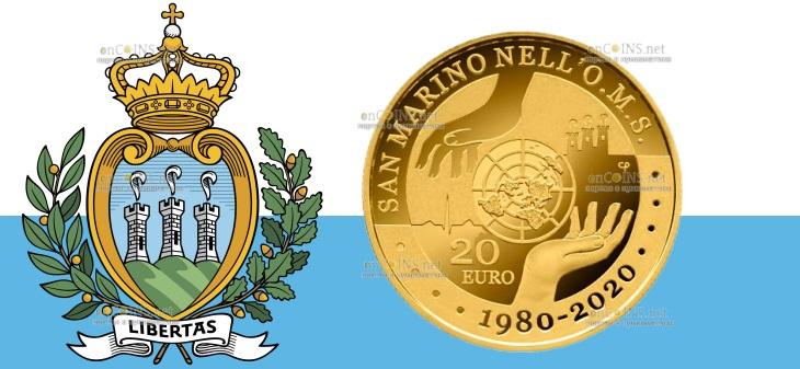 Сан-Марино монета 20 евро 40-летие присоединения Сан-Марино к ВОЗ