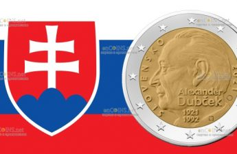 Словакия монета 2 евро Александр Дубчек