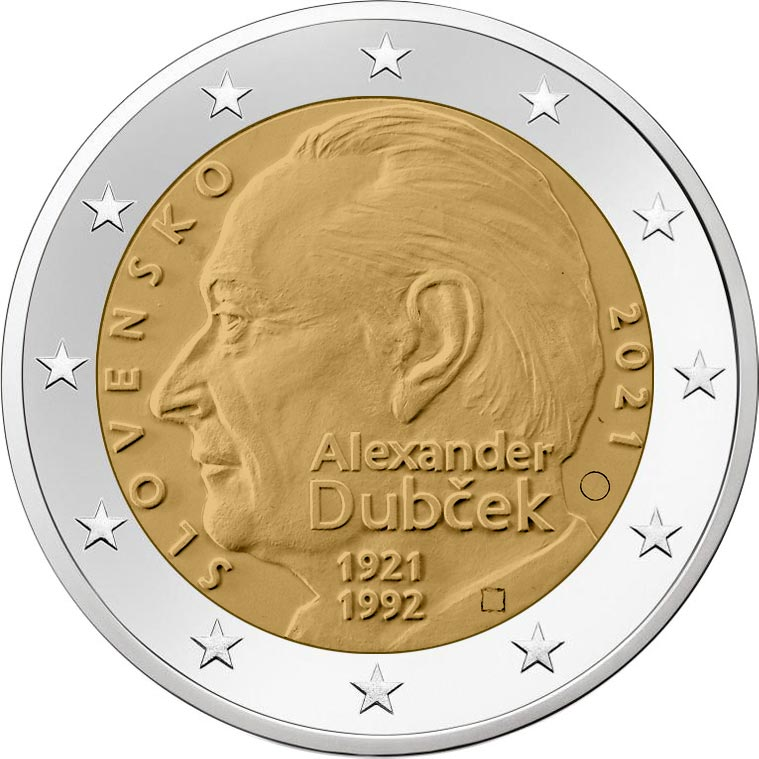 Словакия монета 2 евро Александр Дубчек, реверс