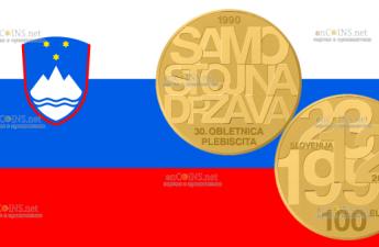 Словения монета 100 евро 30-летие плебисцита о суверенитете и независимости