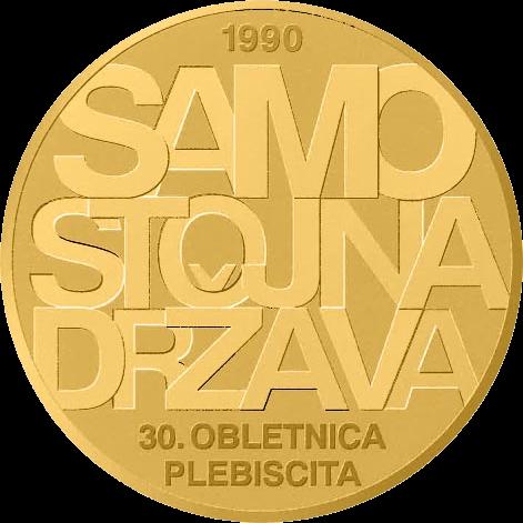 Словения монета 100 евро 30-летие плебисцита о суверенитете и независимости, реверс