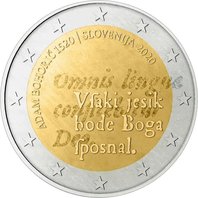 Словения монета 2 евро Адам Бохорич, реверс