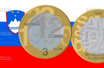 Словения монета 3 евро 30-летие плебисцита о суверенитете и независимости