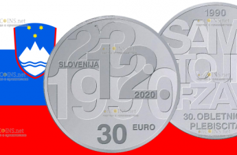 Словения монета 30 евро 30-летие плебисцита о суверенитете и независимости