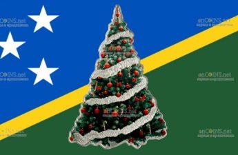 Соломоновы острова монета 2 доллара Праздничное дерево