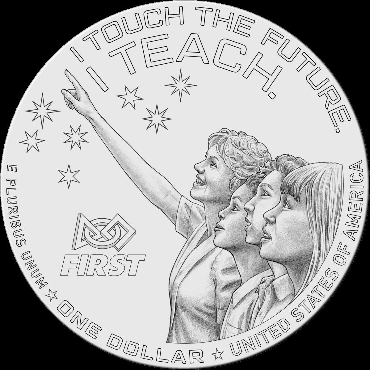 США 1 доллар Криста МакОлифф, аверс