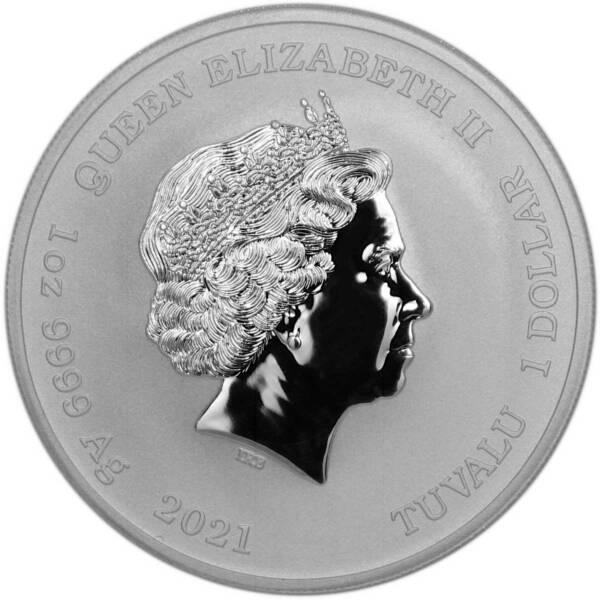 Тувалу монета 1 доллар 2021 год, аверс